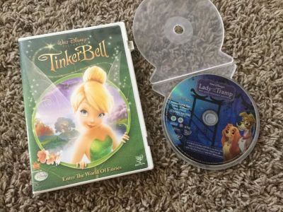 Set of 2 Disney Full Length dvds, Lady and the Tramp and Tinker Bell, $3.00 takes both.