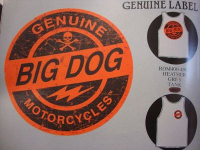 Buy BIG DOG MOTORCYCLES GENUINE LABEL LARGE SHIRT SLEEVELESS CHOPPER K-9 PITBULL motorcycle in Lyons, Kansas, United States, for US $7.99