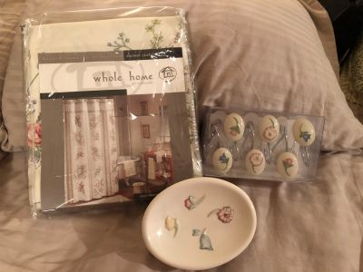 NWT s. Shower curtain, matching hooks, and soap dish.