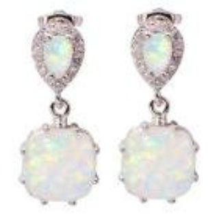 New - White Fire Opal Dangle Earrings
