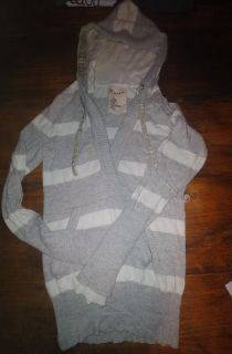 Gray and white stripped hooded sweater