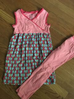Tea Collection dress leggings set size 7