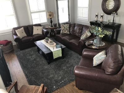 Leather sofa, Loveseat, chair. (Pillows not included)