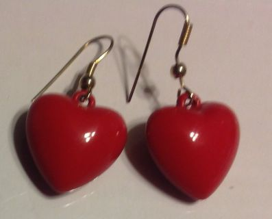 Red heart plastic earrings think Valentines Day