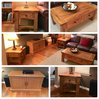 Coffee table. 2 end tables. Tv console and book case