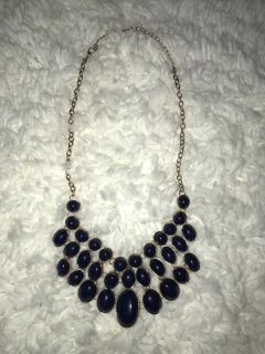 Short Gold Chain Necklace Navy Bubble Beads
