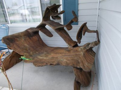 Unique wooden bench from tree root (Summerfield)