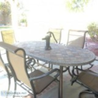 Slate patio table and chairs