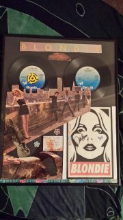 Blondie Original 2 Record Wall Art With Old Concert Ticket & Singed . One Of A Kind Item .
