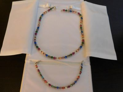 Glass Bead Necklace and Bracelet