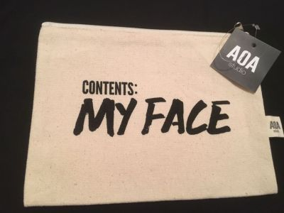 AOA canvas cosmetic case, new with tags.