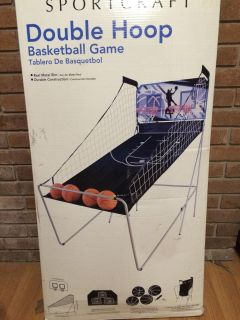 New- Sportcraft Double Hoop Basketball Game - Real metal rim - Durable construction for ages 8+