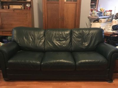 Dark green real leather coach and ottoman
