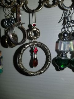 Gold w/Red stones Hanging earrings