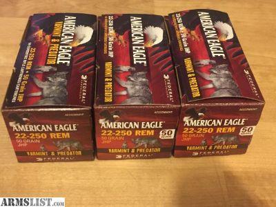 For Sale: Federal American Eagle Varmint & Predator 22-250 REM 50 Grain JHP