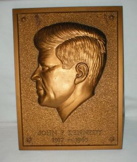 John F. Kennedy 1917-1963 Plaque - Signature Quote History on Back - Bronze Color