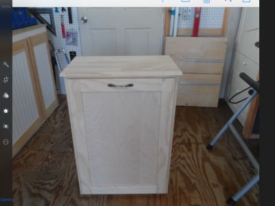 NEW single tip-out wood trash bin