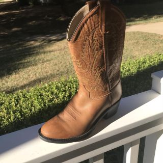 Old West Tan Youth Girls Calf Leather Round Toe Cowboy Boots- sz 5