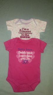 """"""""""" 2 Garanimals brand sparkly 0/3 months onesies excellent conditions. Each WAS BOUGHT INDIVIDUAL. SM"""