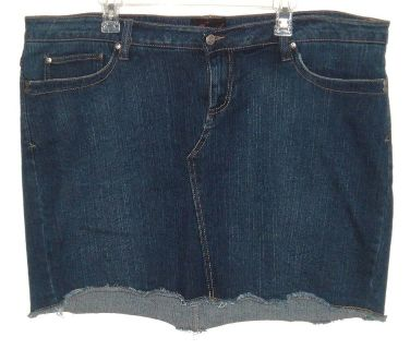 Womens Plus 20w Torrid Cut Off Denim Jean Skort Skirt Shorts Dark Blue Wash Stretch