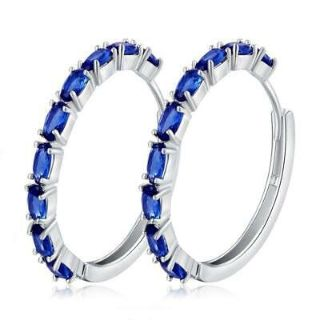 New - Sapphire 10K Gold Filled Hoop Earrings