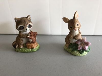 Home Interiors Raccoon With Squirrel and Bunny Rabbit With Flower-$4.00 for both