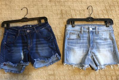 Girls jean shorts sold as a set $24