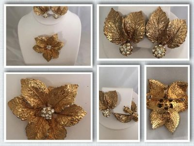 Vintage Gold Tone Clip-On Leaf Earrings & Brooch/Pin with Sparkle On Each Piece