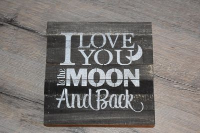 Love you to the moon & back reclaimed wood sign
