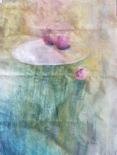 Abstract Fruit Still Life Oil Painting on Canvas - Artist signed! (24in by 36in on unmounted unframed) *STRETCHING AVAILABLE, UPON REQUEST*