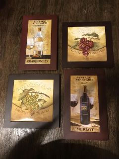 Set of 4 heavy duty wine pictures.