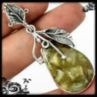 New - Pranite In Pyrite Gemstone 925 Sterling Silver Leaf Pendant (Includes a chain)