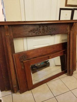 Antique Fireplace Mantel & Mirror