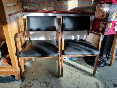 2 ALMA DESK CO MID CENTURY MODERN TEAK OR ROSEWOOD CHAIRS