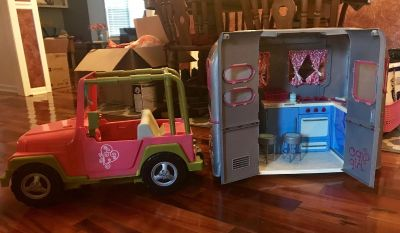 Our generation 18 doll jeep with camper