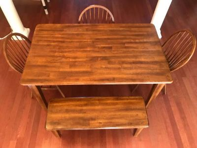 Farmhouse Style Wood Dining Table, Chairs and Bench
