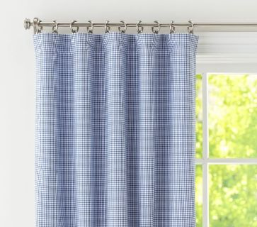 Pottery Barn Kids blue gingham curtains