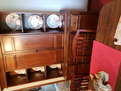 Oak china cabinet with table six chairs