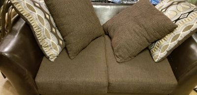 Loveseat with pillows