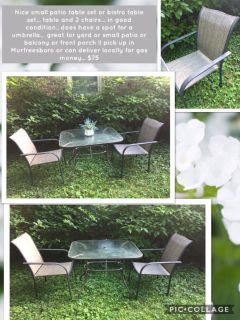 Nice small patio table set or bistro table set