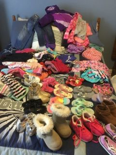 Girls shoes, jeans, shirts, dresses, PJ s, jacket, hoodies, leggins and swimsuits