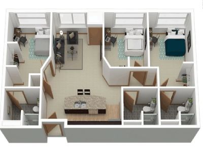 one bedroom and private bathroom in a 3 bed/3 bath apartment at The Marq