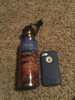 Aluminum Colorado water bottle in VGUC $3.00. Phone shows size.
