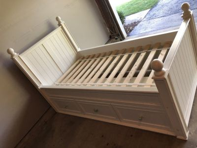 Pottery Barn white Thomas storage bed