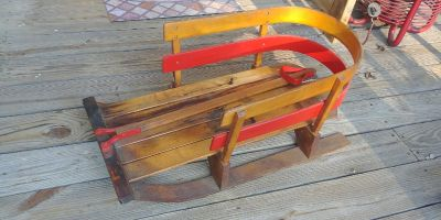 Vintage child's sled sleigh pull behind