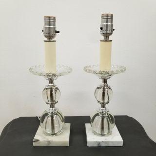 Italian Marble Lucite Crystal Boudoir Lamps