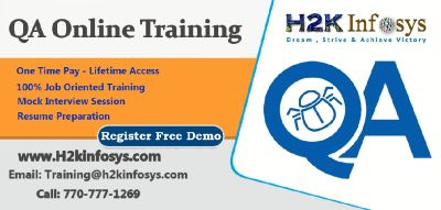 QA Online Training on Live-projects + free real time experience by H2k infosys.