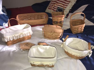 Seven baskets one divider All baskets have protective plastic or cloth lining. New conditions they were stored! All 1 price