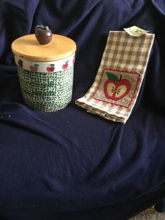 Apple Cookie Jar & Dish Towel