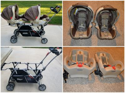 Baby Trend Double Snap N Go Stroller With Graco Car Seats